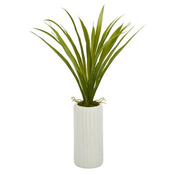 19 Grass Artificial Plant in White Planter - SKU #P1488