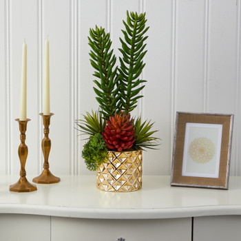 21 Mixed Succulent Artificial Plant in Gold Planter - SKU #P1498