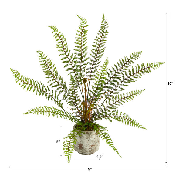 20 Fern Artificial Plant in Decorative Planter - SKU #P1509 - 1