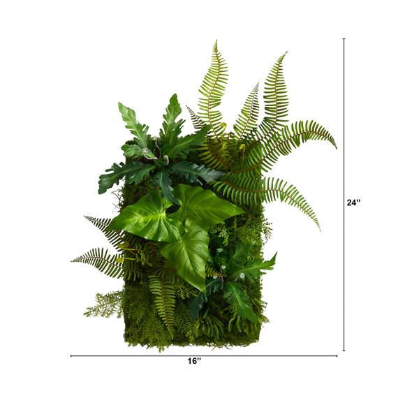 24 x 16 Mixed Foliage Artificial Living Wall - SKU #P1514 - 1