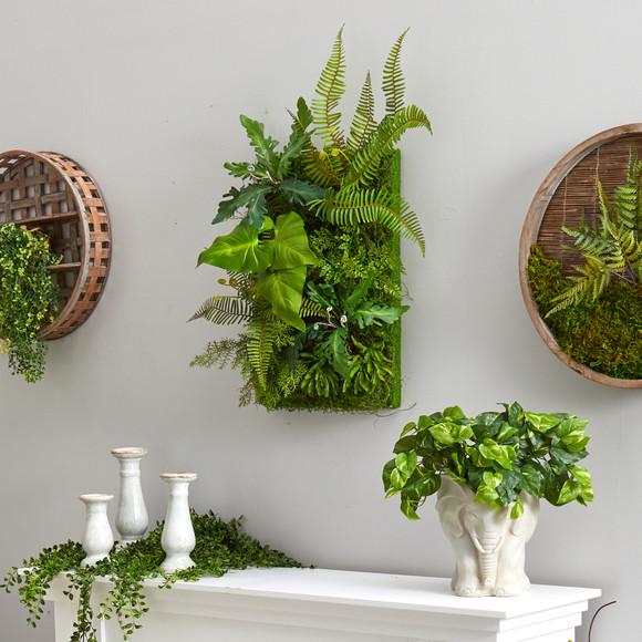 24 x 16 Mixed Foliage Artificial Living Wall - SKU #P1514 - 2