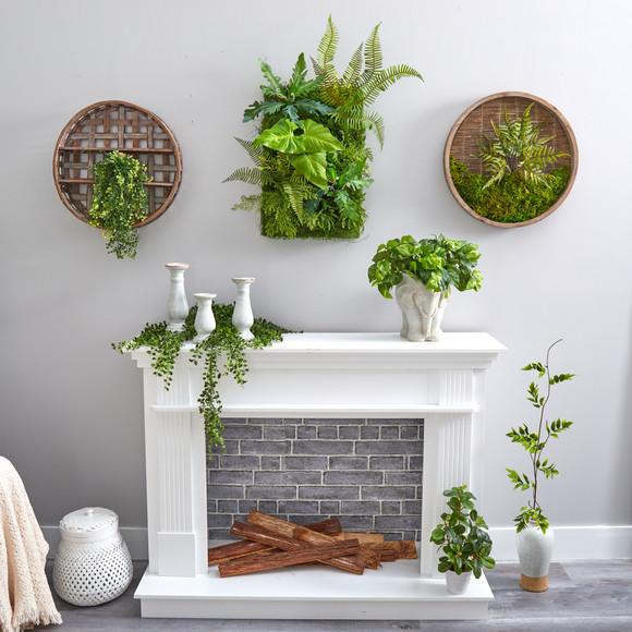 24 x 16 Mixed Foliage Artificial Living Wall - SKU #P1514 - 3