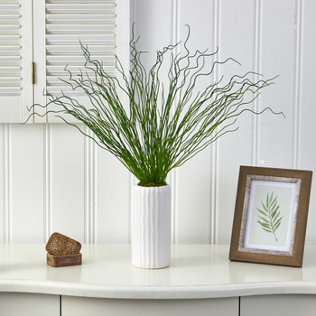 23 Curly Grass Artificial Plant in White Planter - SKU #P1521