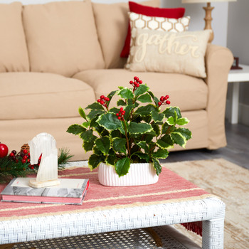 13 Variegated Holly Leaf Artificial Plant in White Planter Real Touch - SKU #P1523