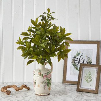 24 Coffee Leaf Artificial Plant in Floral Pitcher Real Touch - SKU #P1528