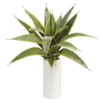 16 Sanseveria Artificial Plant in White Planter - SKU #P1529