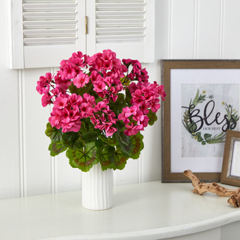 18 Geranium Artificial Plant in White Planter UV Resistant Indoor/Outdoor - SKU #P1531-BU