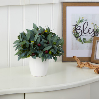 10 Olive Artificial Plant with Berries in White Planter - SKU #P1534