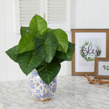 17 Taro Artificial Plant in Blue and White Print Planter - SKU #P1537