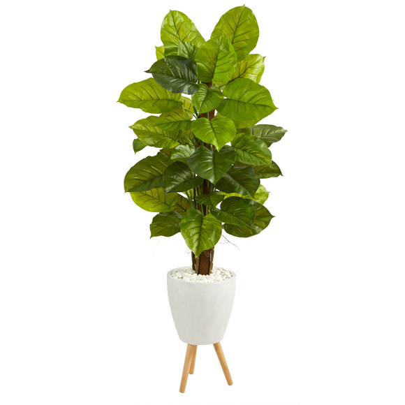60 Large Leaf Philodendron Artificial Plant in White Planter with Stand Real Touch - SKU #P1539