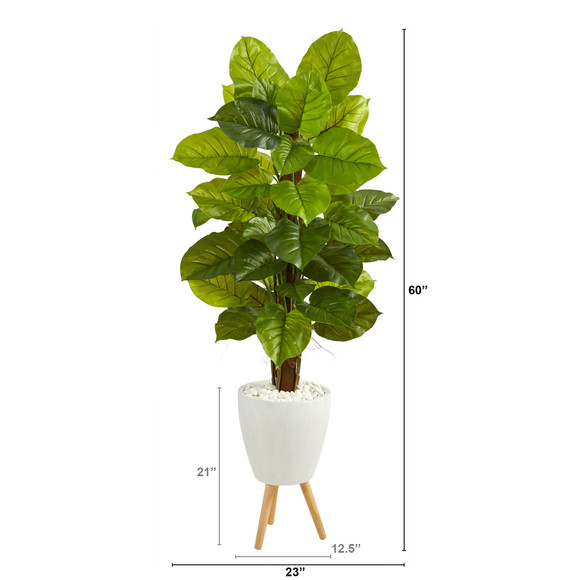 60 Large Leaf Philodendron Artificial Plant in White Planter with Stand Real Touch - SKU #P1539 - 1