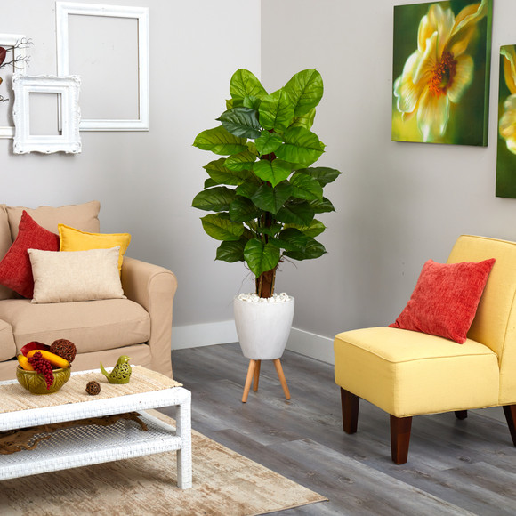 60 Large Leaf Philodendron Artificial Plant in White Planter with Stand Real Touch - SKU #P1539 - 2