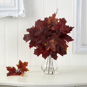 18 Autumn Maple Leaf Artificial Plant in Glass Planter - SKU #P1541