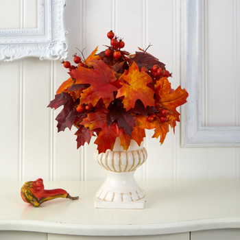 20 Autumn Maple Leaf and Berries Artificial Plant in White Urn - SKU #P1543