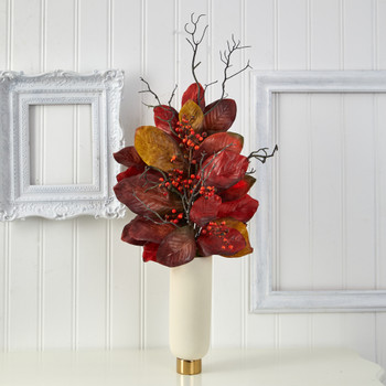 38 Autumn Magnolia Leaf with Berries Artificial Plant in Cream Planter with Gold Base - SKU #P1544