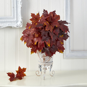 20 Autumn Maple Leaf Artificial Plant in Metal Planter - SKU #P1545