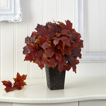 18 Autumn Maple Leaf Artificial Plant in Embossed Black Planter - SKU #P1546