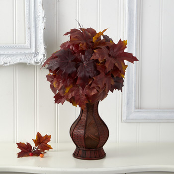 24 Autumn Maple Leaf Artificial Plant in Decorative Planter - SKU #P1547