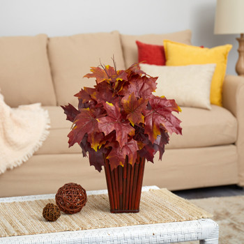 19 Autumn Maple Leaf Artificial Plant in Decorative Planter - SKU #P1548