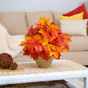 16 Autumn Maple Leaf Artificial Plant in Decorative Planter - SKU #P1549-OG