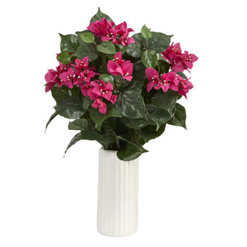 18 Bougainvillea Artificial Plant in White Planter - SKU #P1550