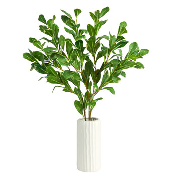 21 Salal Artificial Plant in White Planter - SKU #P1551