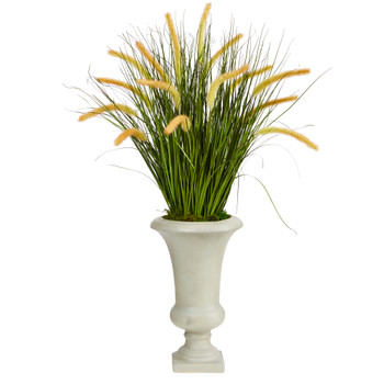 34 Onion Grass Artificial Plant in Sand Colored Urn - SKU #P1553