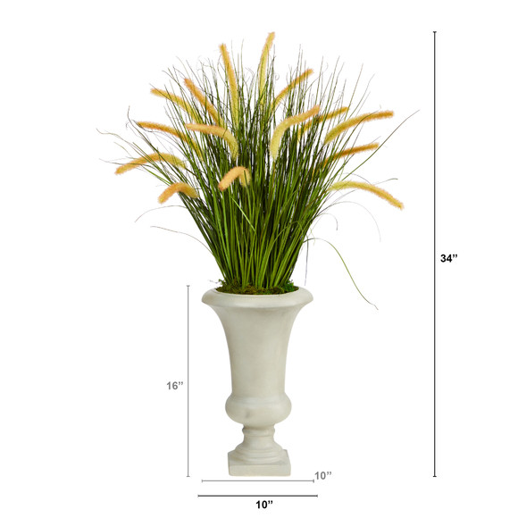 34 Onion Grass Artificial Plant in Sand Colored Urn - SKU #P1553 - 1