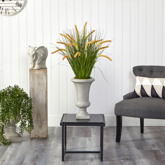 34 Onion Grass Artificial Plant in Sand Colored Urn - SKU #P1553 - 2
