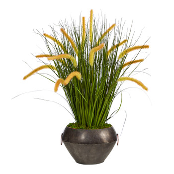 27 Onion Grass Artificial Plant in Metal Bowl - SKU #P1554