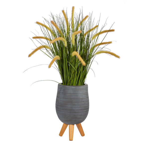 3 Onion Grass Artificial Plant in Gray Planter with Stand - SKU #P1555
