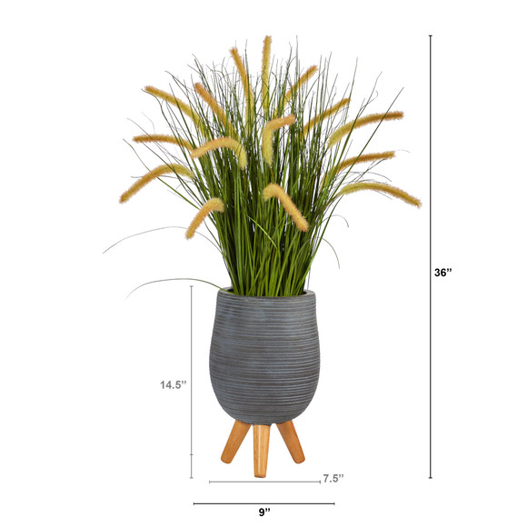 3 Onion Grass Artificial Plant in Gray Planter with Stand - SKU #P1555 - 1