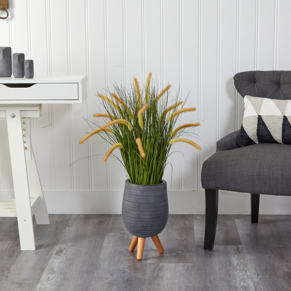 3 Onion Grass Artificial Plant in Gray Planter with Stand - SKU #P1555 - 2