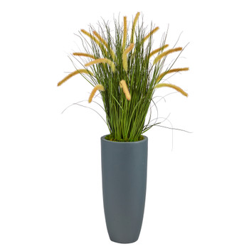 37 Onion Grass Artificial Plant in Gray Planter - SKU #P1556