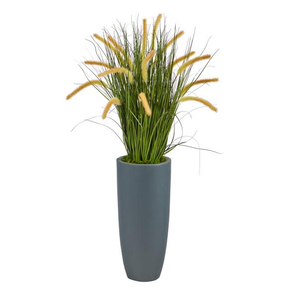 37 Onion Grass Artificial Plant in Gray Planter - SKU #P1556