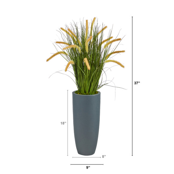 37 Onion Grass Artificial Plant in Gray Planter - SKU #P1556 - 1
