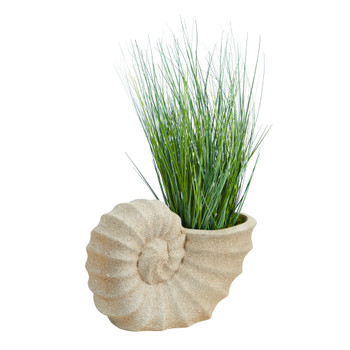 21 Onion Grass Artificial Plant in Shell Shaped Planter - SKU #P1557