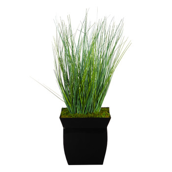 21 Onion Grass Artificial Plant in Black Metal Planter - SKU #P1558