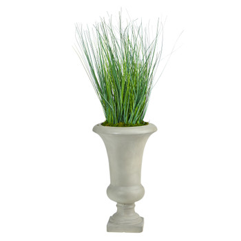 30 Onion Grass Artificial Plant in Sand Colored Urn - SKU #P1559