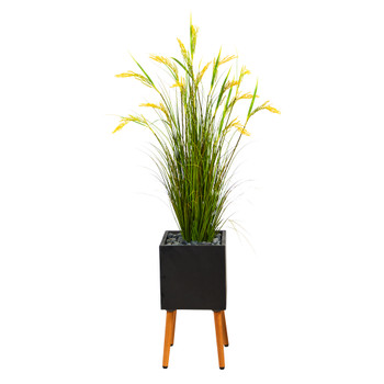 62 Wheat Grain Artificial Plant in Black Planter with Stand - SKU #P1560