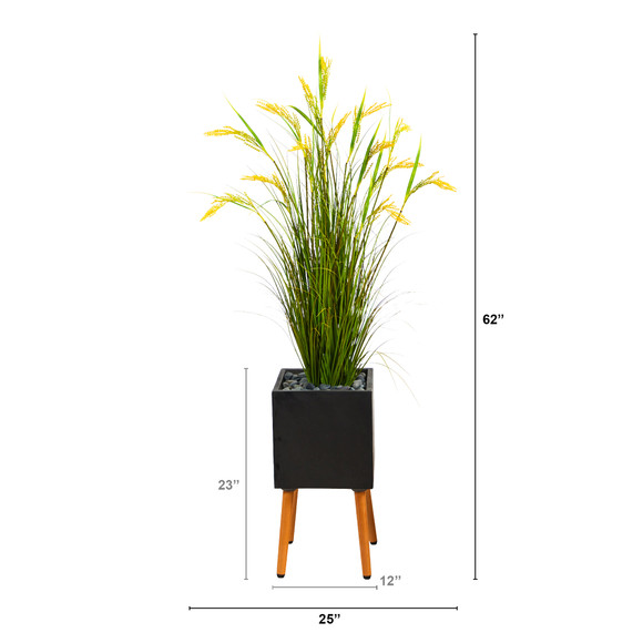 62 Wheat Grain Artificial Plant in Black Planter with Stand - SKU #P1560 - 1