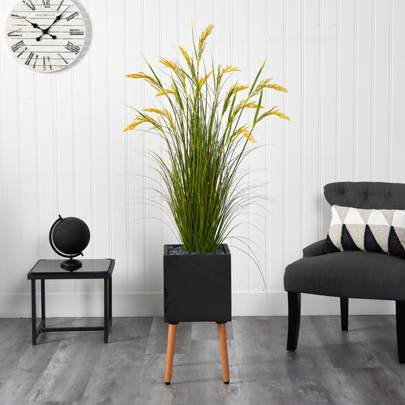 62 Wheat Grain Artificial Plant in Black Planter with Stand - SKU #P1560 - 2