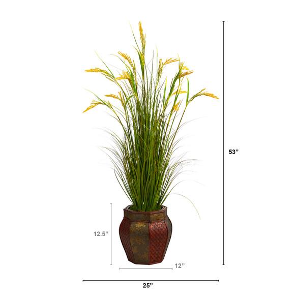 53 Wheat Grain Artificial Plant in Decorative Planter - SKU #P1561 - 1