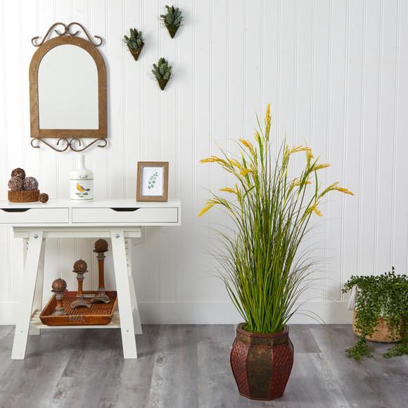 53 Wheat Grain Artificial Plant in Decorative Planter - SKU #P1561 - 2