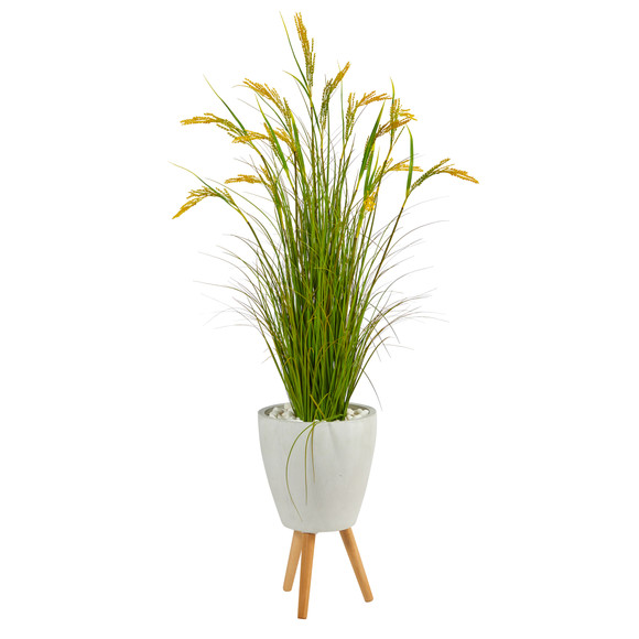 5 Wheat Grain Artificial Plant in White Planter with Legs - SKU #P1562