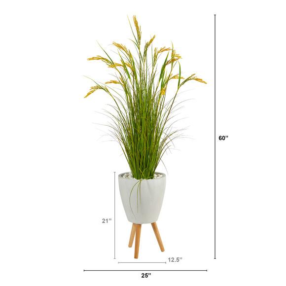 5 Wheat Grain Artificial Plant in White Planter with Legs - SKU #P1562 - 1