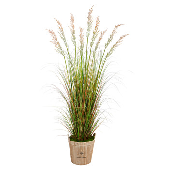 6 Grass Artificial Plant in Farmhouse Planter - SKU #P1563