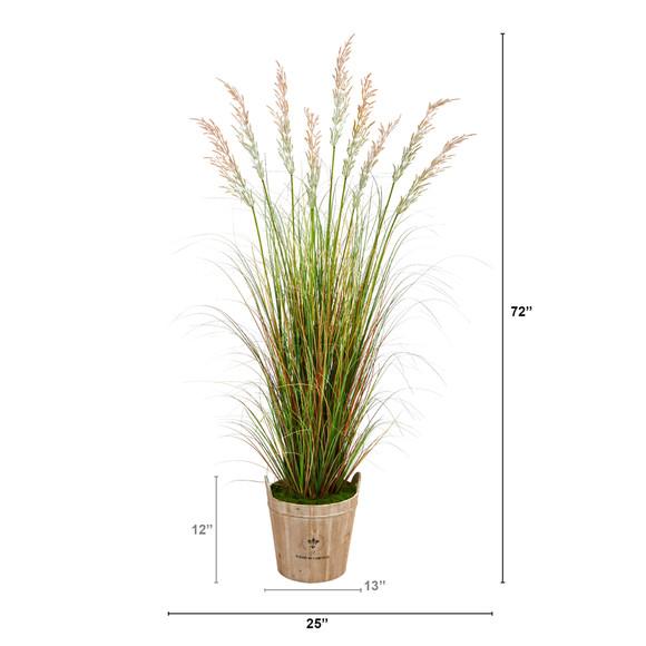 6 Grass Artificial Plant in Farmhouse Planter - SKU #P1563 - 1