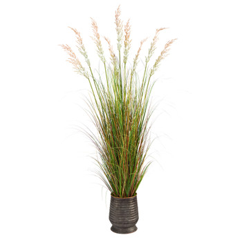 6 Grass Artificial Plant in Ribbed Metal Planter - SKU #P1564
