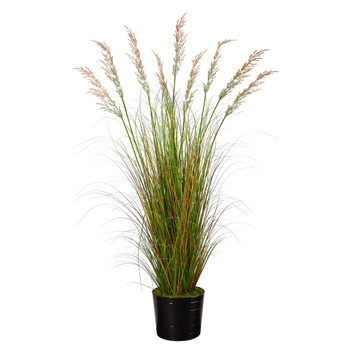 6 Grass Artificial Plant in Black Tin Planter - SKU #P1565